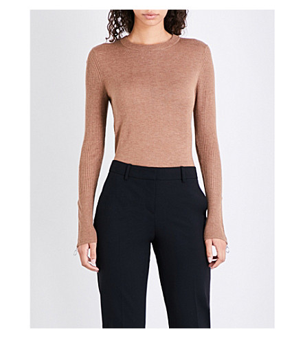 WHISTLES Crewneck wool-blend jumper (Tan