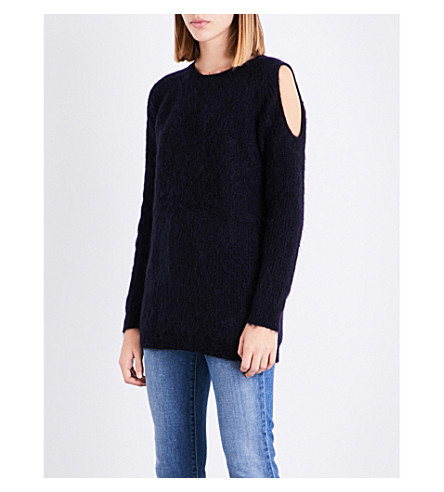 WHISTLES Cold-shoulder chunky-knit jumper (Navy