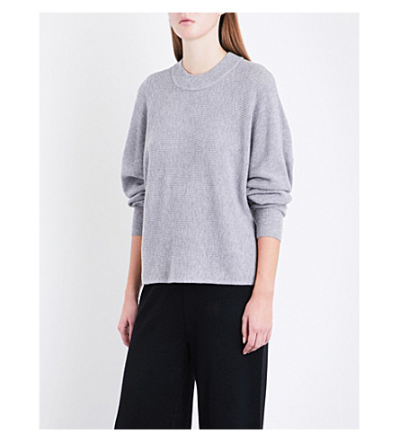 WHISTLES Dolman wool and cashmere-blend jumper (Grey