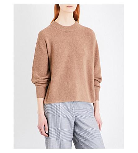 WHISTLES Dolman Horizontal ribbed-knit jumper (Tan