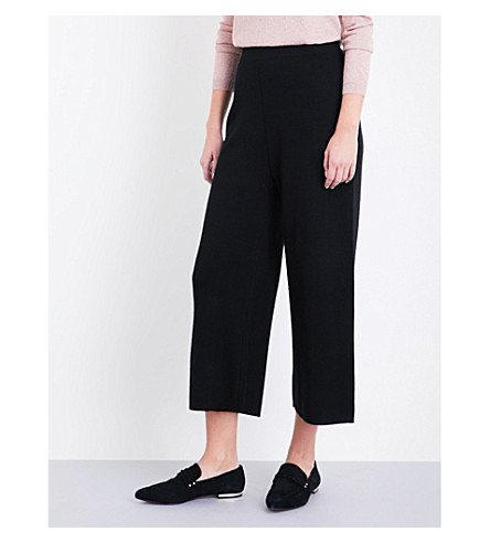WHISTLES Cropped high-rise wool trousers (Black