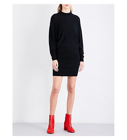 WHISTLES Relaxed fit casual knit dress (Black