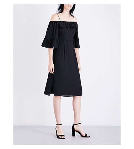 WHISTLES Off- the-shoulder frill dress (Black