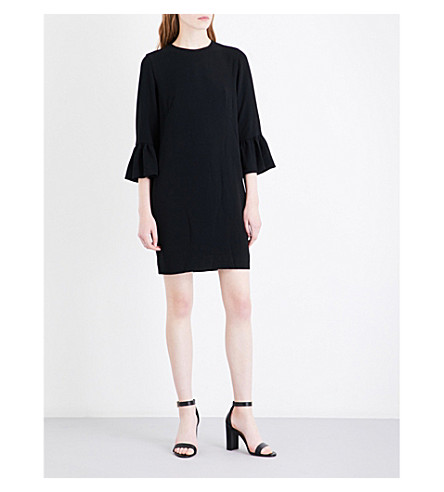 WHISTLES Raven fluted sleeve crepe dress (Black
