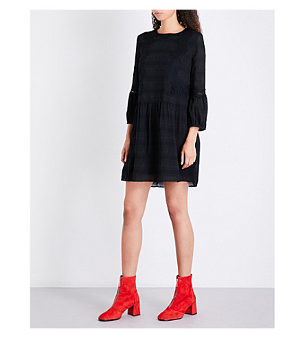WHISTLES Sydney striped floral-lace dress (Black
