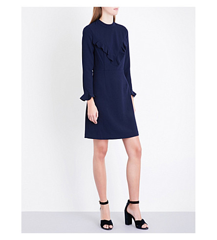 WHISTLES Malke frill-front crepe dress (Navy
