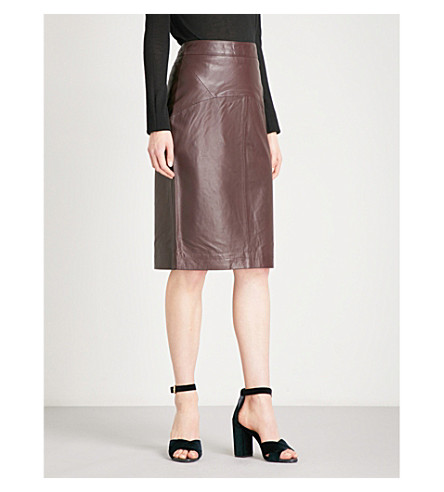 WHISTLES Kel high-rise leather skirt (Plum/claret