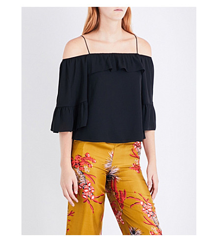 WHISTLES Hayley cold-shoulder crepe top (Black