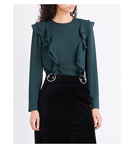 WHISTLES Poppy frill-trim chiffon blouse (Dark+green