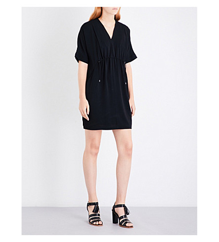 WHISTLES Frances gathered crepe dress (Black