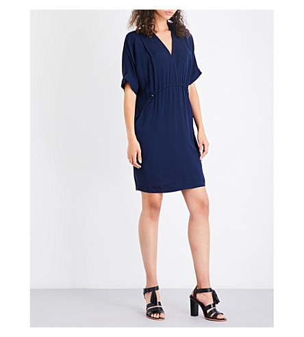 WHISTLES Frances gathered crepe dress (Navy