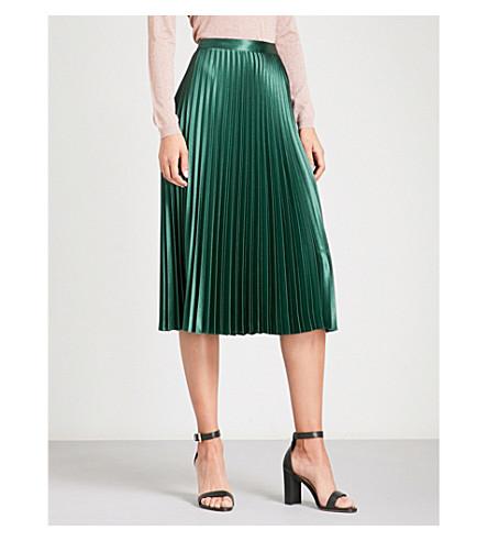 WHISTLES Pleated satin-crepe skirt (Dark+green