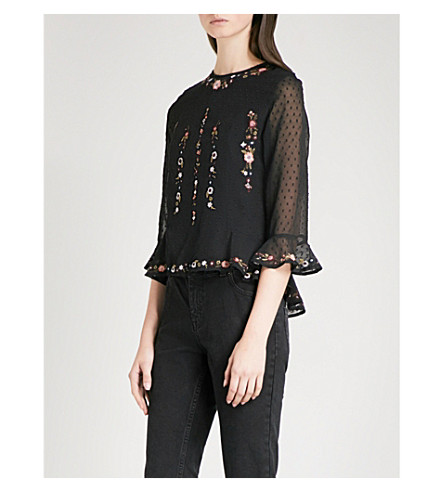 WHISTLES Floral-embroidered fil-coupé top (Black