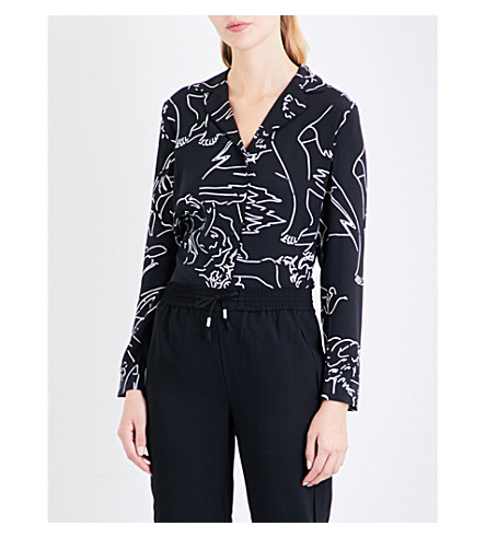 WHISTLES Athena print silk pyjama shirt (Monochrome
