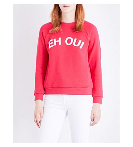 WHISTLES Eh Oui Logo cotton-jersey sweatshirt (Pink
