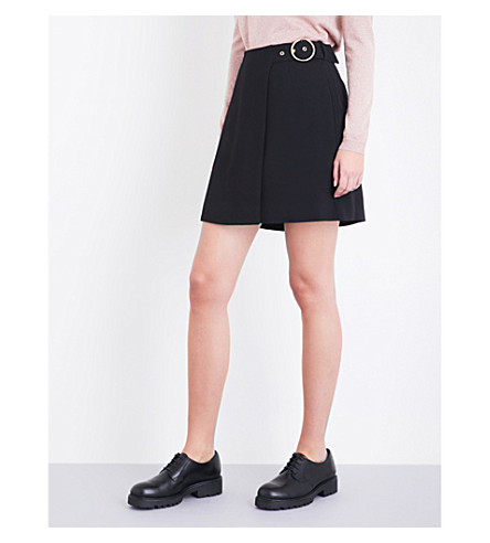 WHISTLES Arpi buckle-detail crepe skirt (Black