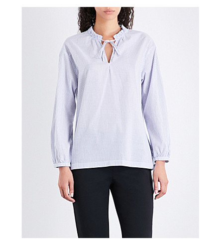 WHISTLES Frilled-collar cotton blouse (Multi-coloured
