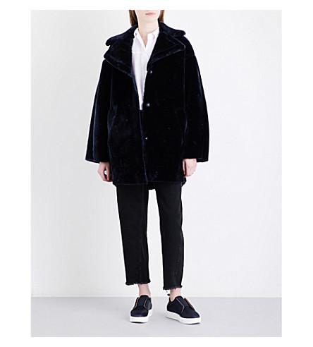 WHISTLES Yara faux-fur cocoon coat (Navy