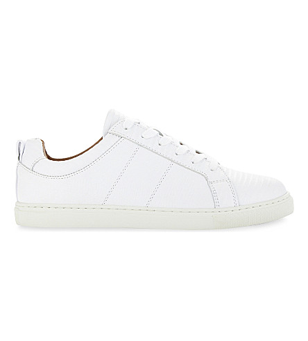 WHISTLES Koki lizard-embossed leather low-top trainers (White