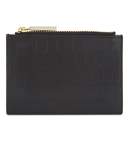 WHISTLES Crocodile-embossed leather coin purse (Black