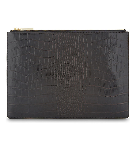 WHISTLES Shiny crocodile-embossed leather pouch (Black
