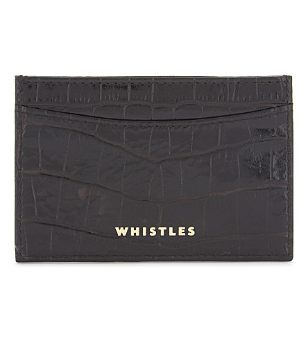 WHISTLES Crocodile-embossed leather card holder (Black