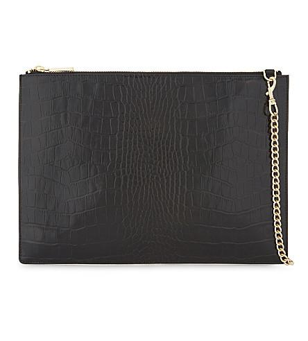 WHISTLES Rivington medium crocodile-embossed leather clutch (Black