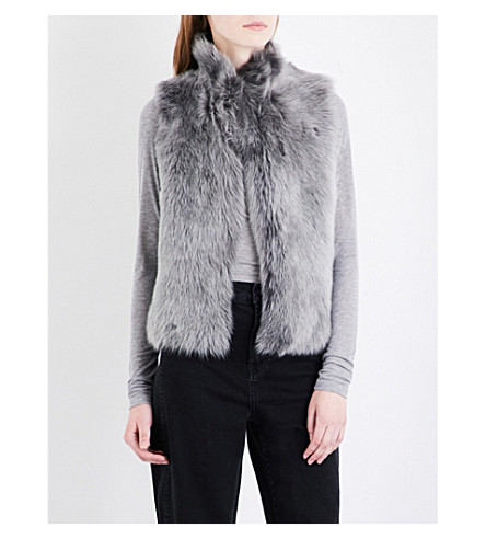 WHISTLES Cropped shearling gilet (Grey