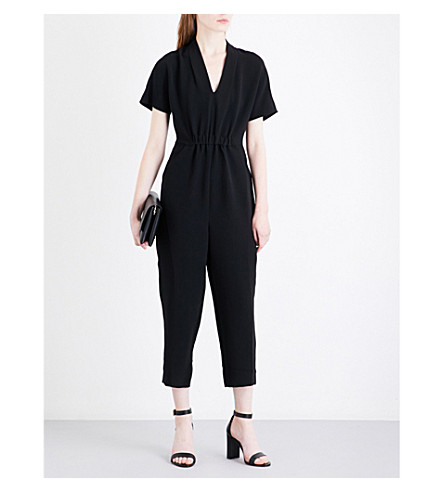 WHISTLES Mercy V-neck crepe jumpsuit (Black