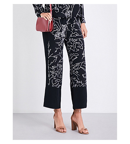 WHISTLES Anthena silk trousers (Black