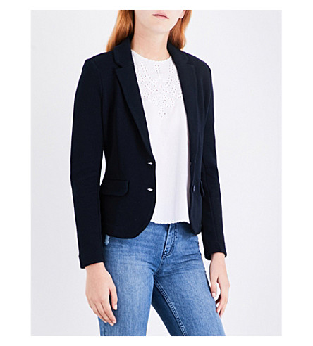WHISTLES Slim-fit cotton-jersey jacket (Navy