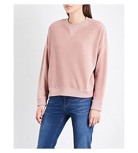 WHISTLES Cropped velour sweatshirt (Pale+pink