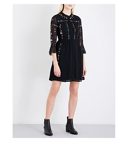 WHISTLES Amira embroidered fil-coupé shirt dress (Black