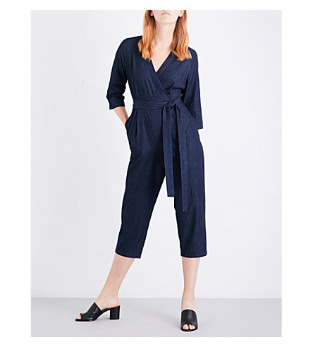 WHISTLES Wrap-front denim jumpsuit (Blue