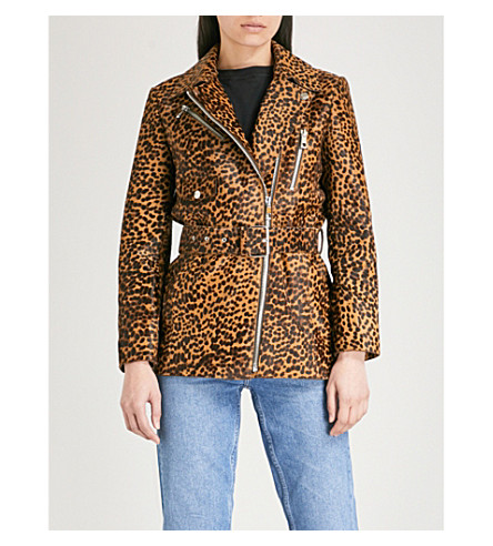 WHISTLES Leopard-print leather biker jacket (Multi-coloured