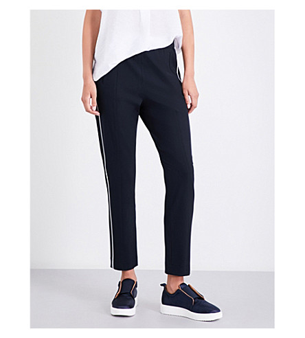 WHISTLES Casual side stripe crepe jogging bottoms (Navy