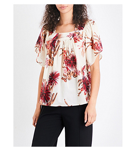 WHISTLES Cactus-print cotton-voile top (Multi-coloured
