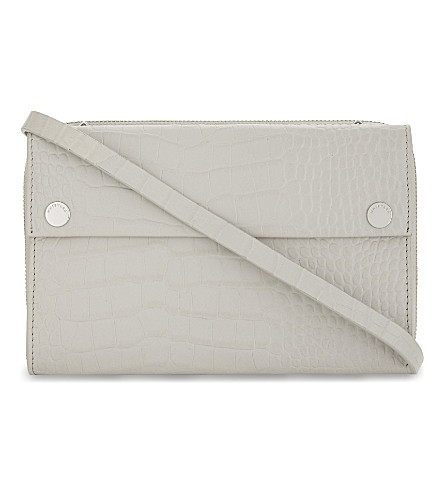 WHISTLES Aubry crocodile-embossed leather cross-body bag (Grey