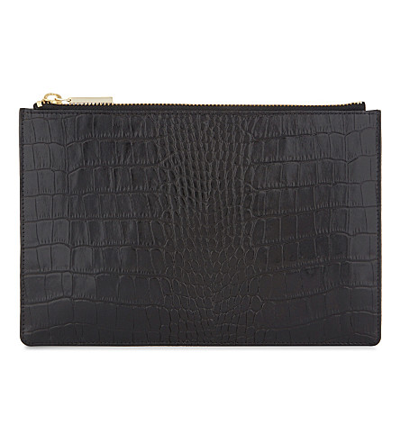 WHISTLES Shiny crocodile-embossed small leather clutch (Black
