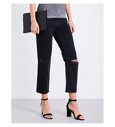 WHISTLES Distressed cropped high-rise jeans (Black