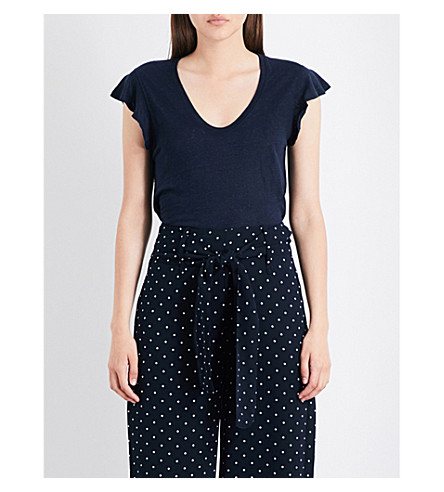 WHISTLES Frilled linen top (Navy
