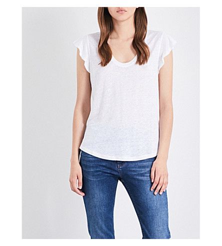 WHISTLES Frilled linen top (White