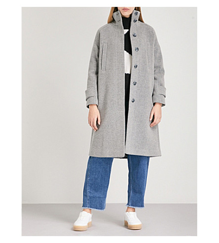 WHISTLES Rib Funnel Neck wool-blend coat (Grey
