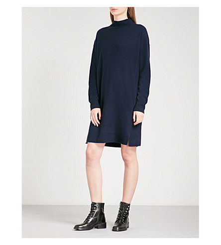 WHISTLES Ribbed-detail knitted cashmere dress (Navy