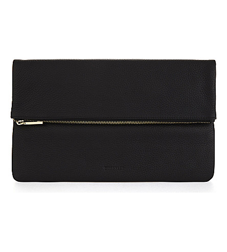 WHISTLES Fold-over leather clutch (Black