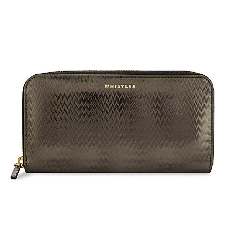 WHISTLES Textured leather wallet (Barely+black