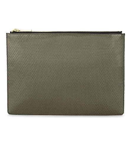 WHISTLES Textured leather medium clutch (Barely+black