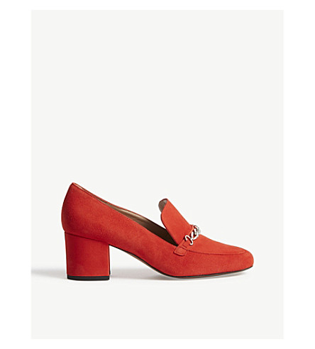 WHISTLES Alma Chain suede loafers (Red