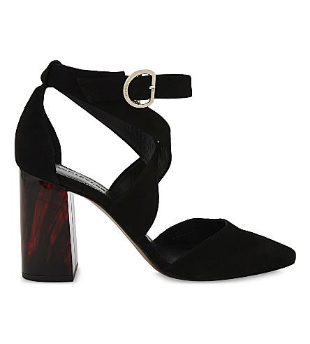 WHISTLES Taylor cross-strap suede marble heels (Black