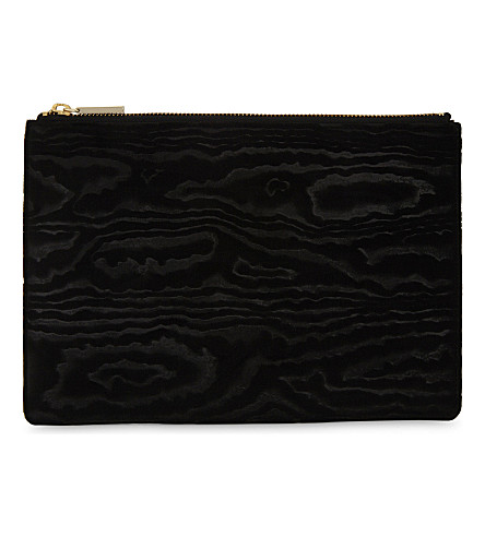 WHISTLES Woodcut medium velvet clutch (Black